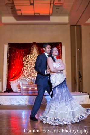 Featured Indian Weddings,purple,bridal lengha,reception dancing,indian wedding dance,indian wedding reception,bride and groom dancing,inspiration for bridal lengha,Damion Edwards Photography,dancing,reception celebration