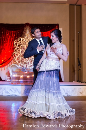 Indian wedding bride and groom at reception in Jersey City, New Jersey Indian Wedding by Damion Edwards Photography