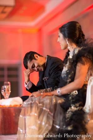 Indian wedding reception bride groom in Jersey City, New Jersey Indian Wedding by Damion Edwards Photography