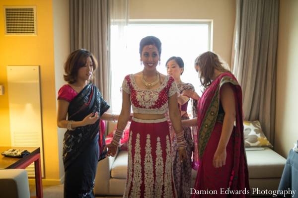 Indian wedding bride dressed traditional in Jersey City, New Jersey Indian Wedding by Damion Edwards Photography