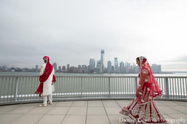 red,sherwani,indian wedding portraits,outdoor portraits,first look portraits,bride and groom portraits,Damion Edwards Photography,traditional ceremony dress,bride lengha