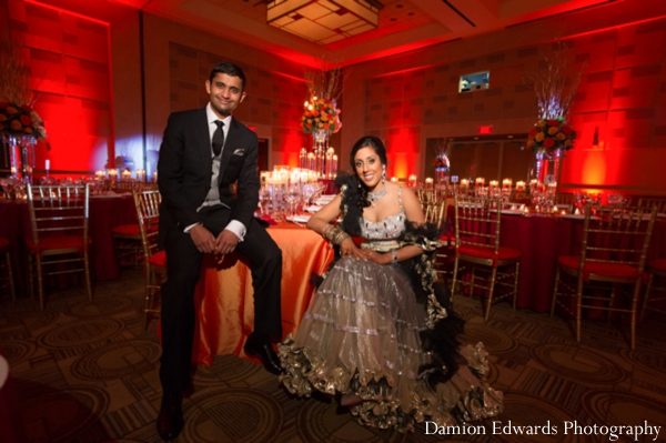 red,reception lighting,indian wedding reception,indian wedding reception venue,bride and groom at reception,Damion Edwards Photography