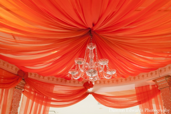 Indian wedding ceremony mandap fabric draped in Jersey City, New Jersey Indian Wedding by Damion Edwards Photography