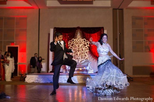 Indian wedding bride reception dancing in Jersey City, New Jersey Indian Wedding by Damion Edwards Photography