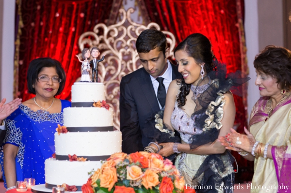 white,indian wedding reception,reception cake,Damion Edwards Photography,traditional reception wedding cake,traditional tiered cake