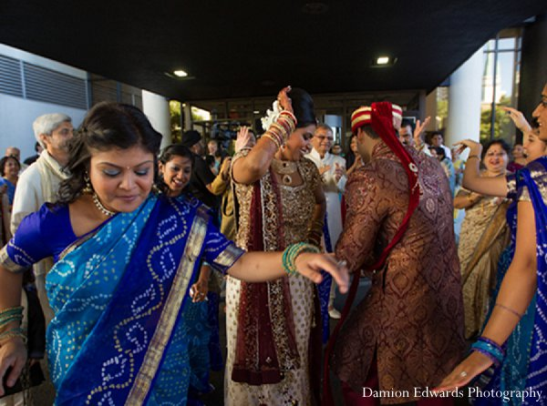 Indian wedding baraat blue saris in New Brunswick, NJ Indian Wedding by Damion Edwards Photography