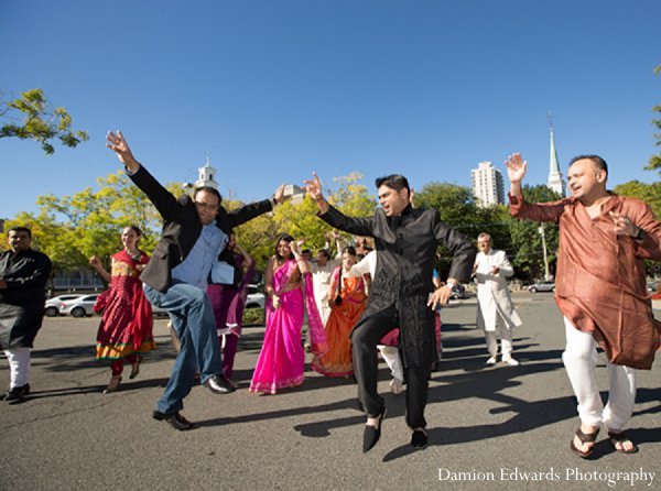 Indian wedding baraat dancing guests in New Brunswick, NJ Indian Wedding by Damion Edwards Photography