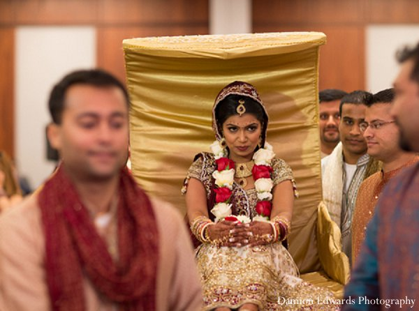 Indian wedding bride ceremony gold doli in New Brunswick, NJ Indian Wedding by Damion Edwards Photography