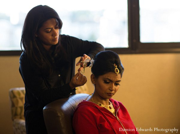 Indian wedding bride getting ready hair in New Brunswick, NJ Indian Wedding by Damion Edwards Photography