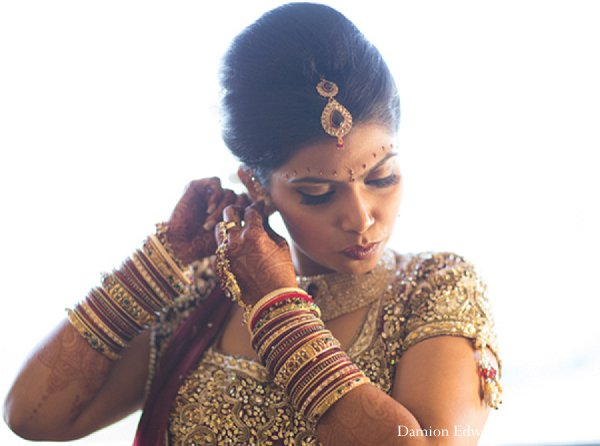 Indian wedding bride getting ready jewelry in New Brunswick, NJ Indian Wedding by Damion Edwards Photography