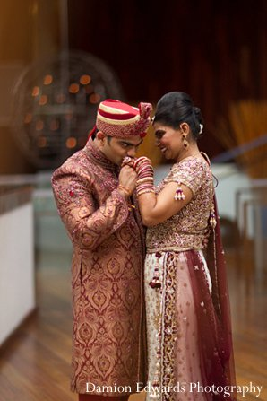 Indian wedding bride groom portrait first look in New Brunswick, NJ Indian Wedding by Damion Edwards Photography
