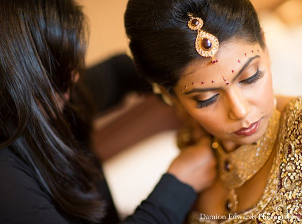 Indian wedding bride jewelry getting ready in New Brunswick, NJ Indian Wedding by Damion Edwards Photography