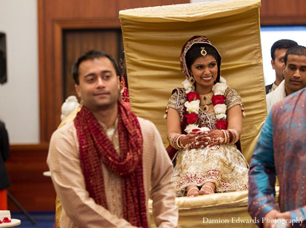 Indian wedding ceremony bride doli gold in New Brunswick, NJ Indian Wedding by Damion Edwards Photography