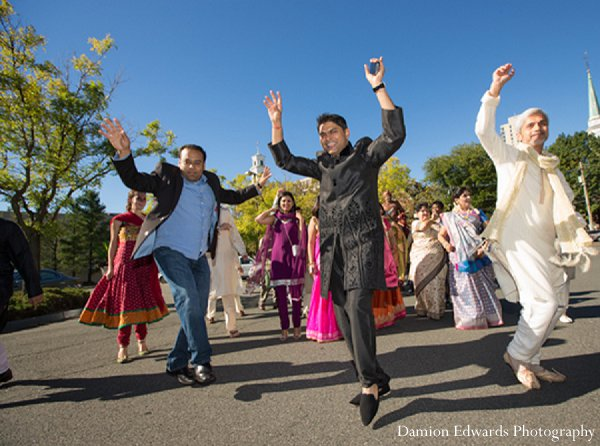 Indian wedding dancing baraat guests in New Brunswick, NJ Indian Wedding by Damion Edwards Photography