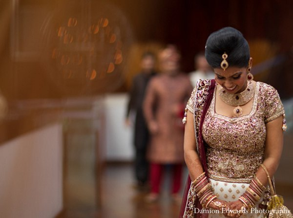 Indian wedding first look bride groom photos in New Brunswick, NJ Indian Wedding by Damion Edwards Photography