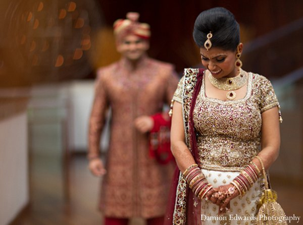 Indian wedding first look portraits in New Brunswick, NJ Indian Wedding by Damion Edwards Photography