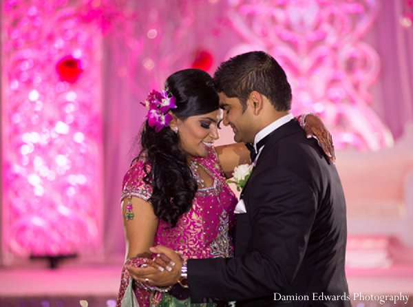 Indian wedding groom bride reception dance in New Brunswick, NJ Indian Wedding by Damion Edwards Photography