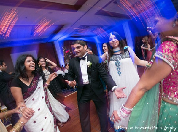 Indian wedding groom reception dance floor in New Brunswick, NJ Indian Wedding by Damion Edwards Photography