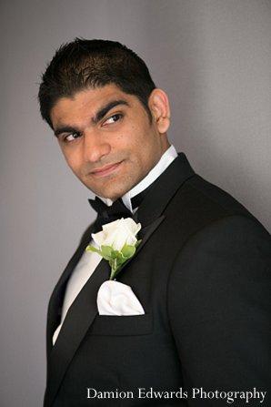 Indian wedding groom tuxedo reception in New Brunswick, NJ Indian Wedding by Damion Edwards Photography