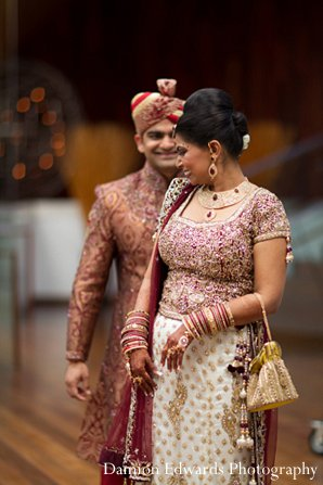 Indian wedding photography bride groom first look in New Brunswick, NJ Indian Wedding by Damion Edwards Photography