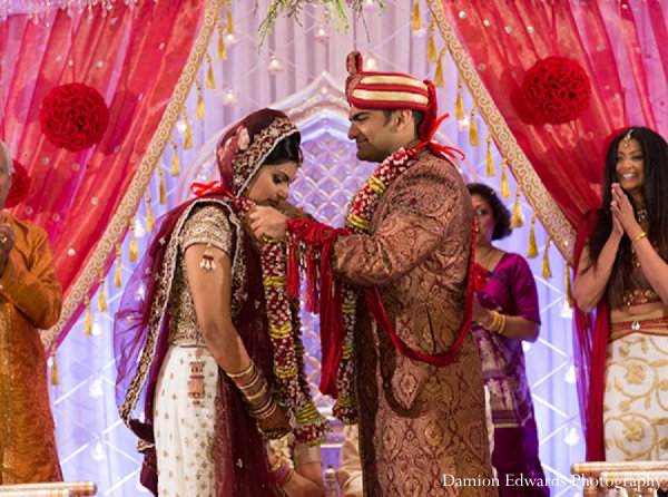 Indian wedding photography ceremony jai malas in New Brunswick, NJ Indian Wedding by Damion Edwards Photography