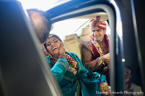 Indian wedding portraits groom bride car in New Brunswick, NJ Indian Wedding by Damion Edwards Photography