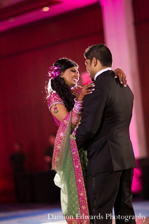 Indian wedding reception bride groom first dance in New Brunswick, NJ Indian Wedding by Damion Edwards Photography