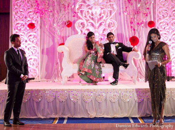 Indian wedding reception bride groom in New Brunswick, NJ Indian Wedding by Damion Edwards Photography
