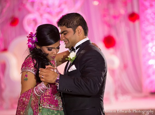 Indian wedding reception groom bride dancing in New Brunswick, NJ Indian Wedding by Damion Edwards Photography