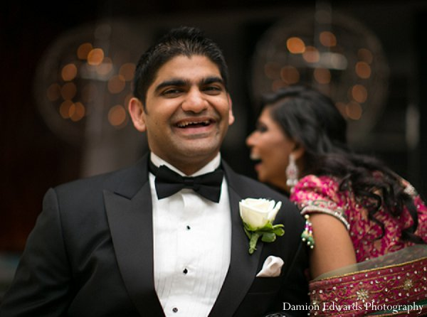 Indian wedding reception groom tuxedo in New Brunswick, NJ Indian Wedding by Damion Edwards Photography