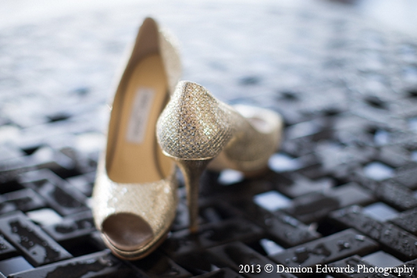 Indian wedding bridal accessories shoes gold in Rockleigh, New Jersey Indian Wedding by Damion Edwards Photography