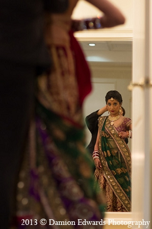 Indian wedding bridal sari getting ready in Rockleigh, New Jersey Indian Wedding by Damion Edwards Photography