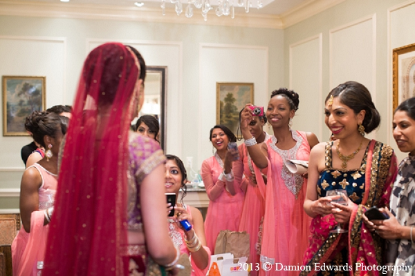 Indian wedding bride bridesmaids get ready in Rockleigh, New Jersey Indian Wedding by Damion Edwards Photography
