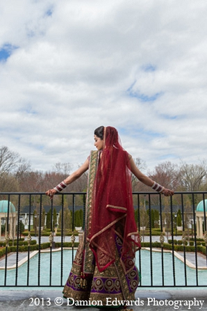 Indian wedding bride dupatta portraits in Rockleigh, New Jersey Indian Wedding by Damion Edwards Photography