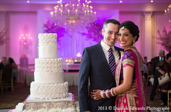 Indian wedding bride groom cake reception in Rockleigh, New Jersey Indian Wedding by Damion Edwards Photography