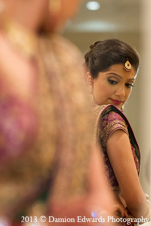 Indian wedding bride makeup getting ready in Rockleigh, New Jersey Indian Wedding by Damion Edwards Photography
