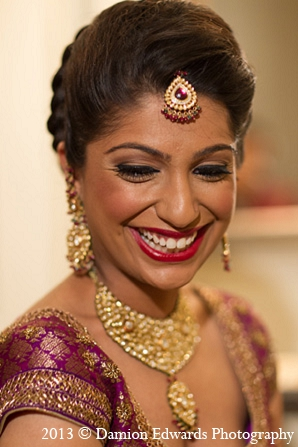 Indian wedding bride makeup jewelry in Rockleigh, New Jersey Indian Wedding by Damion Edwards Photography