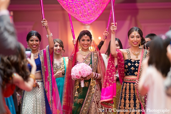 Indian wedding ceremony bride bridal party in Rockleigh, New Jersey Indian Wedding by Damion Edwards Photography