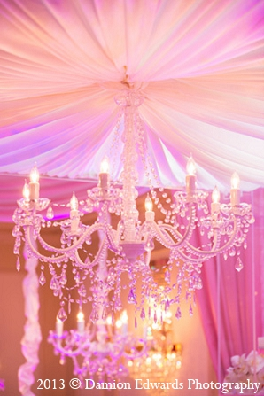 Indian wedding chandelier decor pink reception in Rockleigh, New Jersey Indian Wedding by Damion Edwards Photography