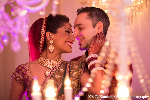 Indian wedding decor bride groom portraits in Rockleigh, New Jersey Indian Wedding by Damion Edwards Photography