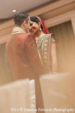 Indian wedding first look bride groom in Rockleigh, New Jersey Indian Wedding by Damion Edwards Photography