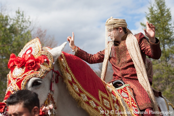 Indian wedding groom baraat horse in Rockleigh, New Jersey Indian Wedding by Damion Edwards Photography
