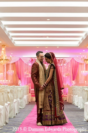 Indian wedding groom bride first look in Rockleigh, New Jersey Indian Wedding by Damion Edwards Photography