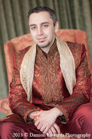 Indian wedding groom portraits sherwani in Rockleigh, New Jersey Indian Wedding by Damion Edwards Photography