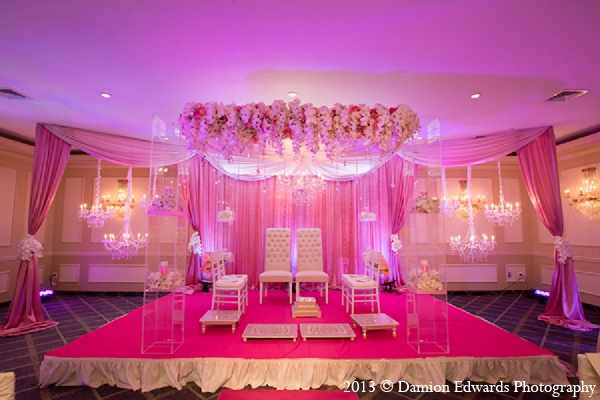 Indian wedding mandap decor pink floral in Rockleigh, New Jersey Indian Wedding by Damion Edwards Photography