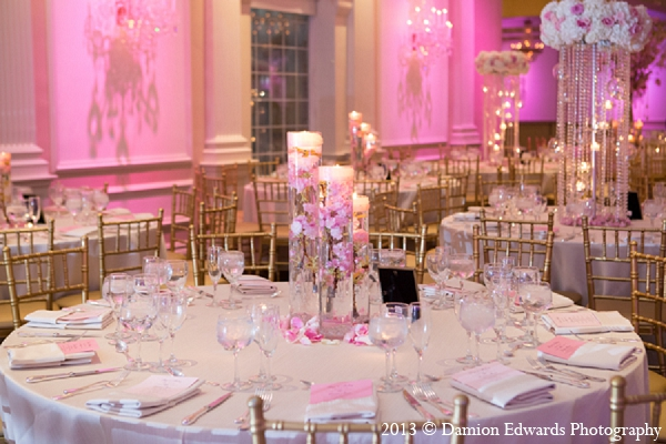 Indian wedding pink table setting decor reception in Rockleigh, New Jersey Indian Wedding by Damion Edwards Photography