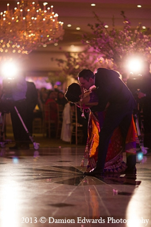 Indian wedding reception dance bride groom in Rockleigh, New Jersey Indian Wedding by Damion Edwards Photography