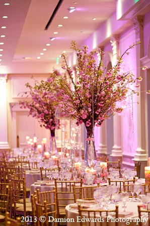 Indian wedding reception decor floral pink in Rockleigh, New Jersey Indian Wedding by Damion Edwards Photography