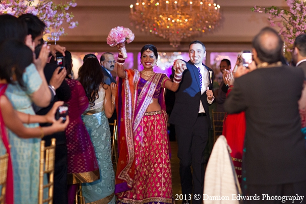 Indian wedding reception entrance bride groom in Rockleigh, New Jersey Indian Wedding by Damion Edwards Photography