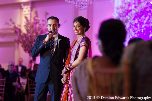 Indian wedding reception speeches bride groom in Rockleigh, New Jersey Indian Wedding by Damion Edwards Photography
